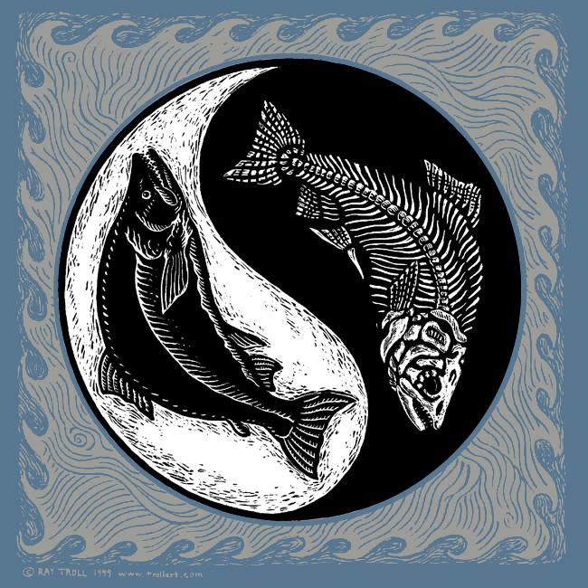 Yin Yang Long Sleeve T Shirt Troll Art