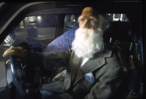 Charles Darwin at the wheel of the Evolvo (AKA Chuckie D)