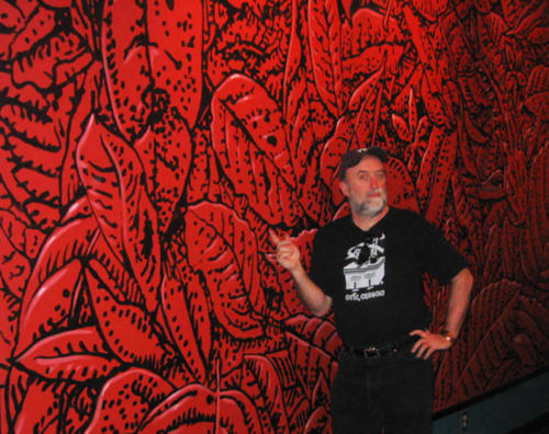 Ray and hand painted leaf litter pattern, Miami, 2005