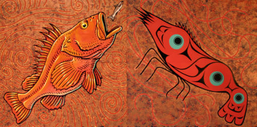 deatail from 'Sitka Wild Fish Mural' with Will Burkhart, Roberto Salas, and Memo Jauregui