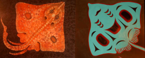 Roberto's skate on the left, Will's on the right in traditional totemic style