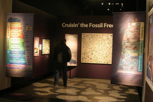 Cruisin' the Fossil Freeway exhibit at the Burke Museum, exhibit design by Andrew Whiteman