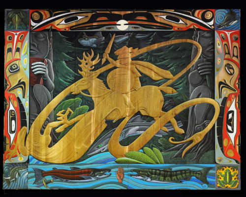 A Knight in the Woods, collaborative carving/painting with Haida artist Donald Varnell