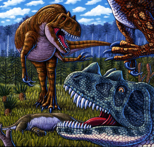 Morrison Mealtime (Allosaurus, Torvosaurus, Ceratosaurus)