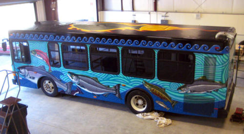 hand painted city bus