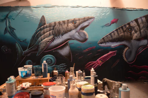 Helicoprion mural in progress with Memo Jauregui