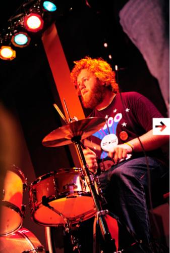 Patrick on drums at Fisherpoets in Astoria