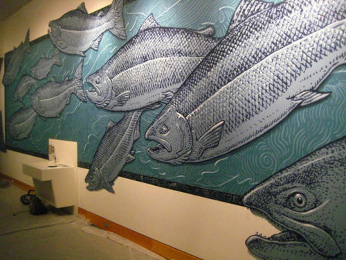 Salmon mural at the Anchorage Museum