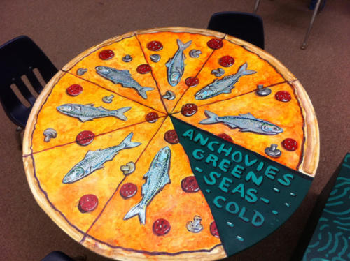 Anchovy Pizza table painted with Craig Holdren