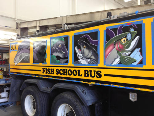 "Hand painted Anchorage hatchery truck AKA ""the Fish School Bus"""