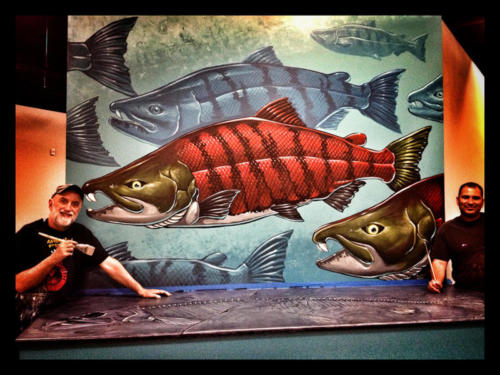 Saber Toothed Salmon mural painted with Memo Jauregui
