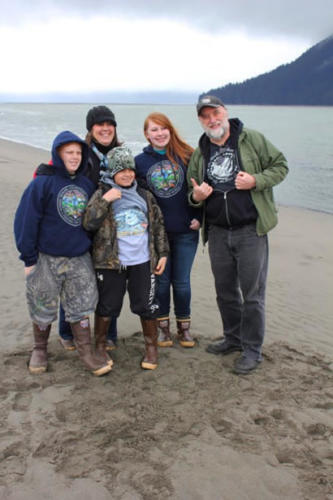Miller Clan and Mr. Troll on the Stikine river near Wrangell