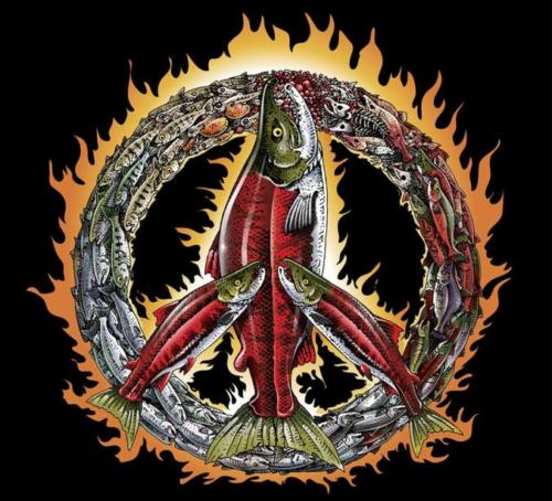 PEACE SIGN SALMON CYCLE flames 1