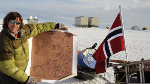 A table cloth I drew on ended up at the South Pole with a cadre of wandering polar scientists.