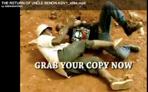 "Spawn shirt in the Ugandan action film ""the Return of Uncle Benon"""