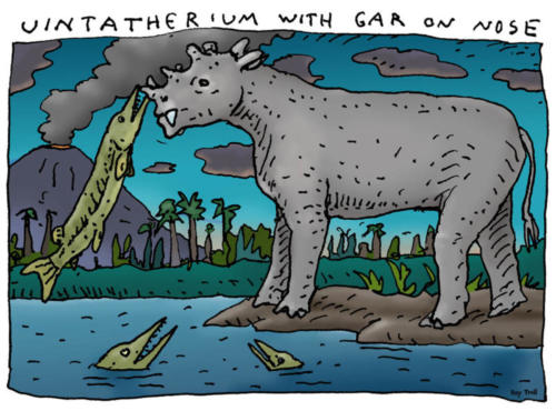Uintatherium with Gar on Nose
