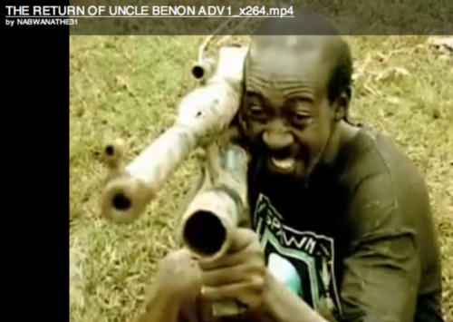 "Spawn Til You Die shirt in the Ugandan action film ""The Return of Uncle Benon"""