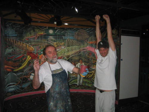 Sean Duran and I working late at night painting the dance floor, Miami, October, 2005