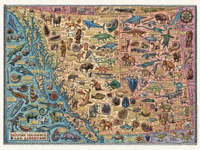 FOSSIL MAP OF BRITISH COLUMBIA & ALBERTA