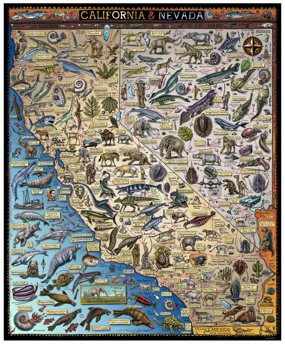 Map Of Nevada And California FOSSIL MAP OF CALIFORNIA & NEVADA   Troll Art