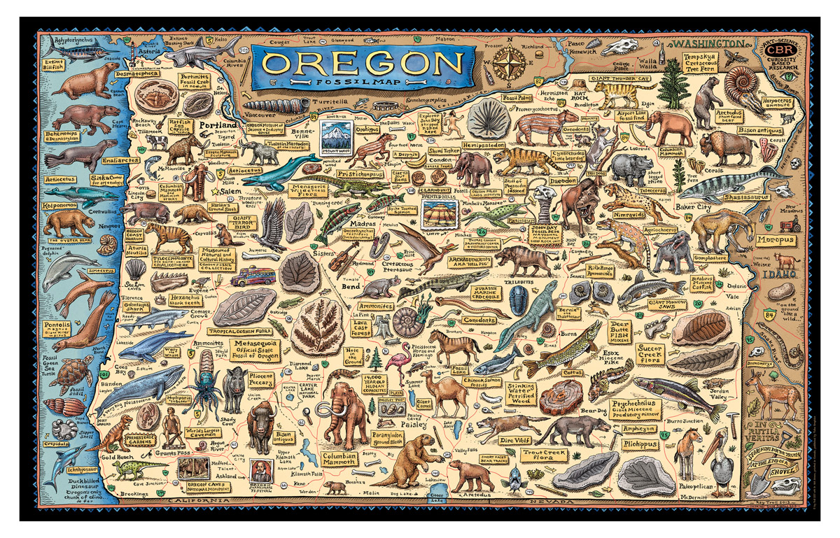 Oregon Map Image.Fossil Map Of Oregon Troll Art